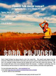 Sara Pajunen concert flyer